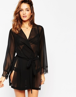 Asos - Chiffon Robe with Lace Cuff