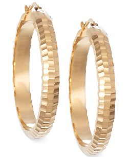 Signature Gold - Textured Round Hoop Earrings