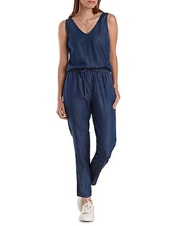 Charlotte Russe - Sleeveless Chambray Jumpsuit