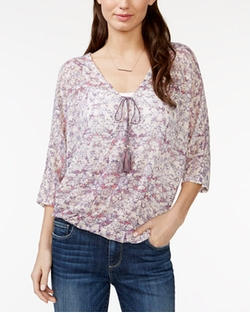 JPR - Printed Pointelle-Knit Banded Top