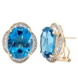Kabella Luxe  -  Diamond and Oval Cut Blue Topaz Earrings