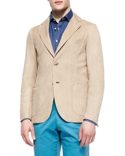 Isaia - Washed Suede Elbow-Patch Blazer