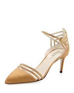 Giorgio Armani - Satin & Crystal Point-Toe Sandal