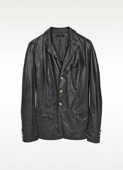Forzieri - Black Leather 3-Button Blazer