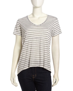 W by Wilt  - Short-Sleeve Slouchy Striped Jersey T-Shirt
