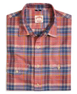 BROOKS BROTHERS - Rust Faded Twill Plaid Sport Shirt