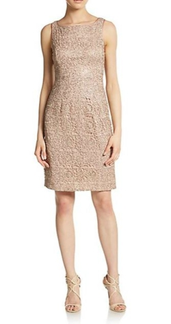 Adrianna Papell  - Sequined Metallic Lace Dress