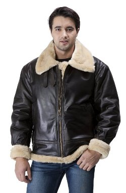 United Face - Mens Deep Brown Aviator B-3 Leather Bomber Jacket