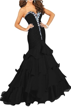 Enjoy Buys - Chiffon Mermaid Ruffles Rhinestones Evening Gown