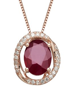 Lord & Taylor - Natural Ruby and Diamond Pendant Necklace