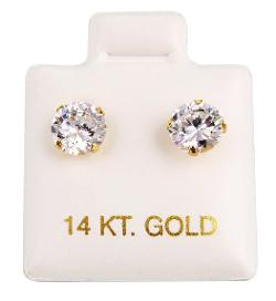 JewelryVolt - 14kt Yellow Gold Clear CZ Round Brilliant Cut Stud Earrings