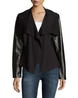 Neiman Marcus - Draped Faux-Leather Jacket