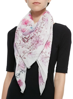 Anna Coroneo - Pressed Flower Print Silk Scarf