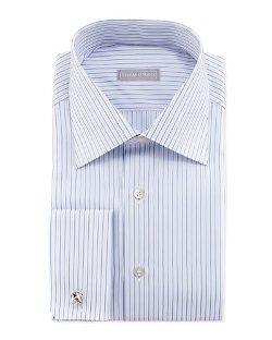 Stefano Ricci   - Thin-Stripe French-Cuff Dress Shirt
