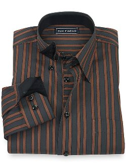 Paul Fredrick  - Stripe Hidden Button Down Collar Sport Shirt