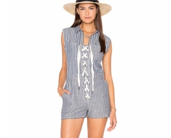 Lucca Couture - Lace-Up Cut-Off Romper