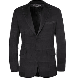 Junya Watanabe - Black Slim-Fit Patchwork Cotton And Linen-Blend Blazer