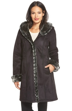 Gallery - Hooded Faux Shearling Coat