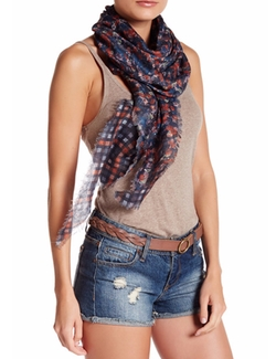 Roffe Accessories - Double-Knit Check & Floral Scarf
