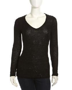 Todd and Duncan  - Sequin V-Neck Sweater, Black