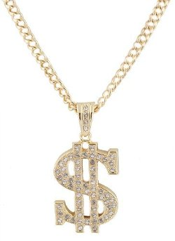 JOTW - Dollar Sign Pendant with Cuban Chain Necklace