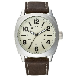 Merona - Eggshell Dial Brown Strap Analog Watch