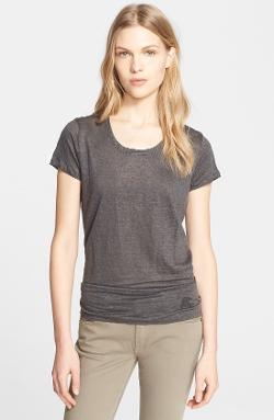Burberry Brit  - Scoop Neck Linen Tee Shirt