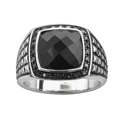 Sterling Silver - .24-ct. T.W. Black Diamond & Onyx Ring