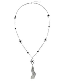 White House|Black Market - Black and White Tassel Pendant Necklace