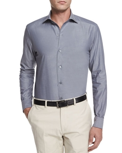 Ermenegildo Zegna - Solid Chambray Long-Sleeve Shirt