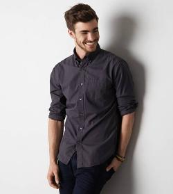 American Eagle Outfitters - Solid Poplin Button Down Shirt