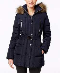 Michael Kors - Hooded Faux-Fur-Trim Down Belted Puffer Coat