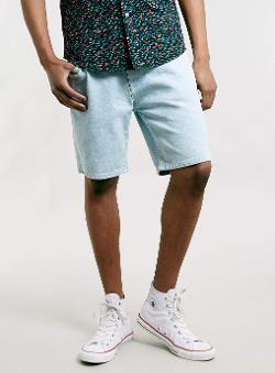 Topman - Light Wash Denim Shorts