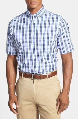 Nordstrom  - Regular Fit Plaid Short Sleeve Sport Shirt