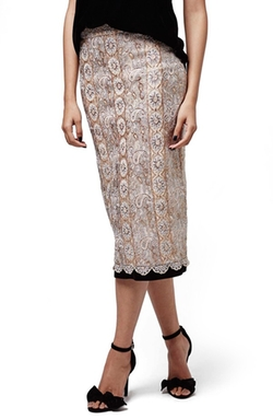 Topshop  - Metallic Lace Midi Skirt