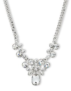 Givenchy  - Silver Tone And Crystal Cluster Pendant Necklace
