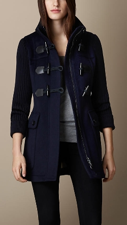 Burberry - Contrast Knit Detail Duffle Coat