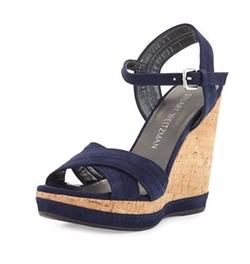 Stuart Weitzman - Minky Suede Wedge Sandals
