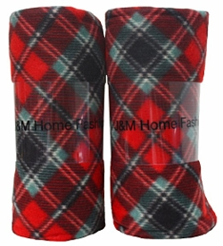 J & M Home Fashions - Holiday Plaid Fleece Blanket