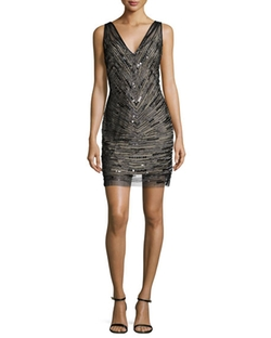 Aidan Mattox  - V-Neck Embellished Cocktail Dress