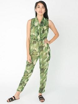 American Apparel - Chiffon Drape Front Jumpsuit