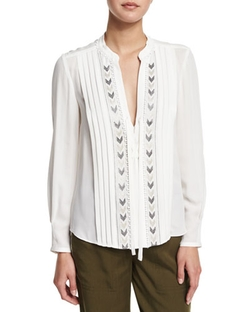 Rebecca Taylor   - Long-Sleeve Pleated Chevron-Embroidered Silk Top