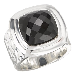 Jewelryimpressions - Square Faceted Black Onyx Ring