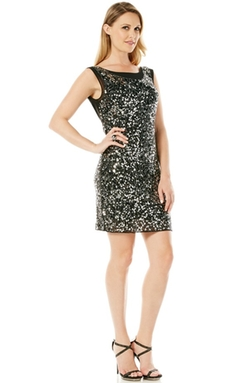 Laundry by Shelli Segal - Embellished Mesh Sheath Dress