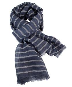 Pizu Bazaar - Natural with Navy Stripe Linen Scarf
