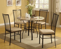 Acme - Darell Faux Marble Top Dining Set