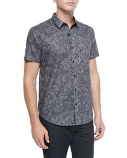 Theory - Squiggle-Print Short-Sleeve Woven Shirt