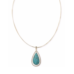 Anne Klein - Stone and Pavé Teardrop Pendant Necklace