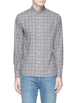 Maison Kitsuné - Fox Logo Appliqué Check Plaid Shirt