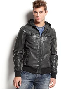 Rogue State  - Jacket, Faux Leather Bomber Jacket